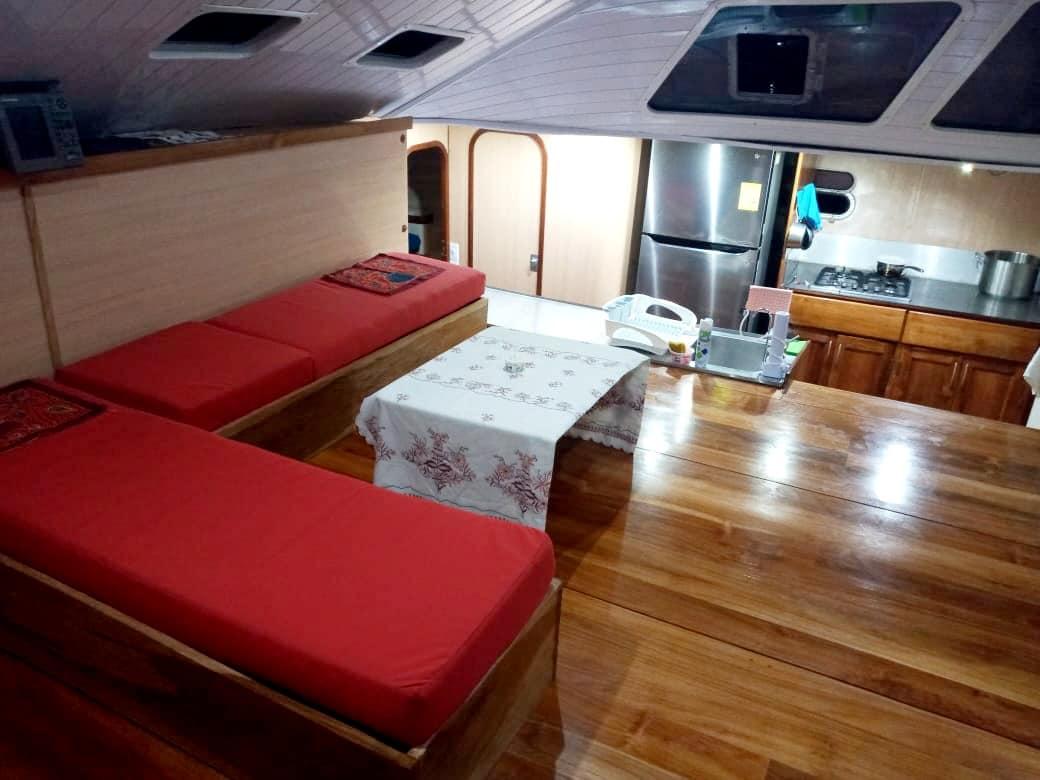 spartivento san blas catamaran rental living room